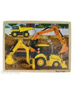 Learn and play with the Melissa & Doug puzzle featuring a construction scene of diggers at work.