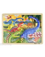 Learn and play with the Melissa & Doug puzzle featuring a prehistoric scene of dinosaurs.