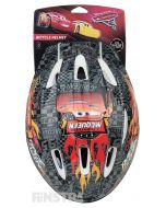 Lightning McQueen, racing flags, motor sport signs and trophies on a black and red Cars 3 helmet design