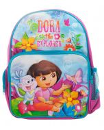 A Dora backpack featuring Boots the monkey exploring and little Dora together the butterflies and flowers.