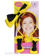 Yellow headband with Emma's signature yellow and black bow attached and matching shoe bows are the perfect accessories for an Emma Watkins costume