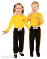 Dress up as the yellow Wiggle, Emma Watkins, who loves sing and dance, wearing a yellow shirt and black pants.