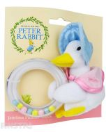 The cute and cuddly Jemima Puddle-Duck wears a blue poke bonnet and a pink shawl holding the ring rattle that helps baby develop fine and gross motor skills, and gives hours of fun with constant movement and sliding beads.