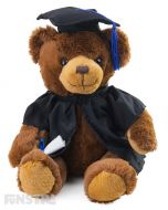 Johnny bear is all smiles holding the certificate for his diploma. Dressed in a black graduation robe with grad hat complete with blue tassels, Johnny is the perfect cuddly brown graduation bear to offer congrats to graduates.