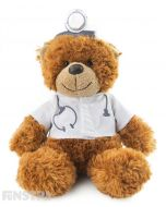 Doctor bear is on call and prescribes cuddles. Wearing a white coat, complete with stethoscope and head mirror, this little bear might just be the best medicine for your patient.