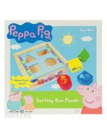 Learn colors and shapes with the Peppa Pig sorting box featuring colored blocks.