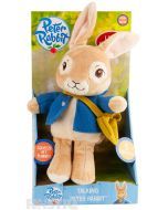 Peter Rabbit says, 'Yummy, scrummy radishes, here we come!', 'A good rabbit never gives up!', 'And all rabbits need a little help from their friends!', 'Let's hop to it!' and giggles.